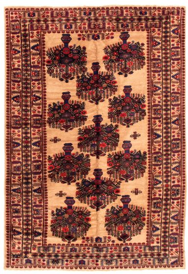 Bordered  Tribal Brown Area rug 6x9 Afghan Hand-knotted 348532