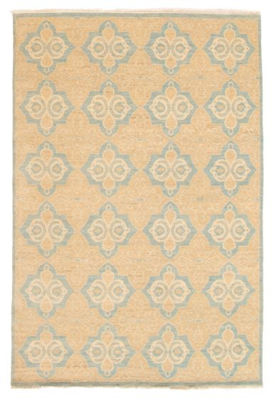 Casual  Transitional Green Area rug 5x8 Indian Hand-knotted 356523