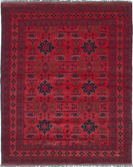 Traditional Red Area rug 5x8 Afghan Hand-knotted 222416