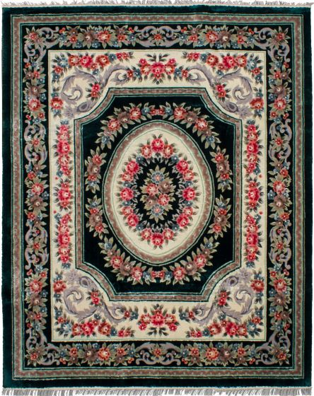 Bordered  Traditional Green Area rug 6x9 Chinese Hand-knotted 265957