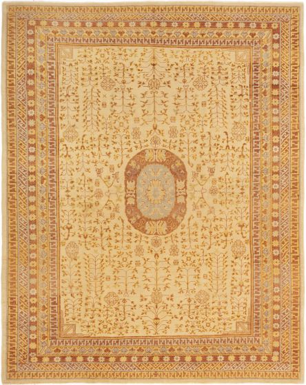 Bordered  Traditional Ivory Area rug 6x9 Turkish Hand-knotted 280790