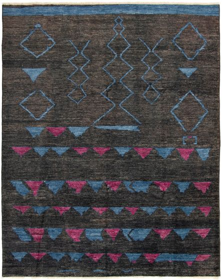 Casual  Transitional Black Area rug 9x12 Indian Hand-knotted 294091