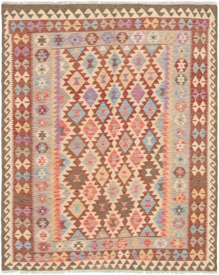 Bordered  Geometric Ivory Area rug 4x6 Turkish Flat-weave 297908