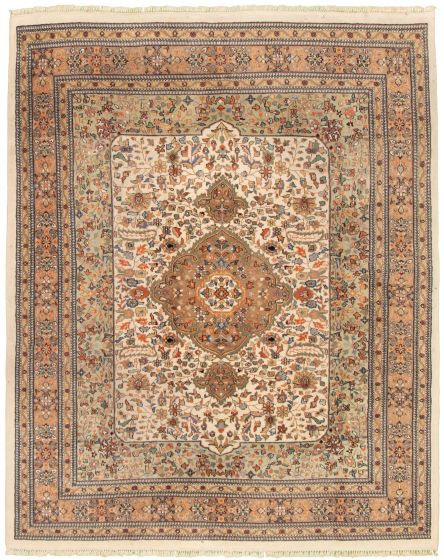 Bordered  Traditional Ivory Area rug 6x9 Indian Hand-knotted 328535