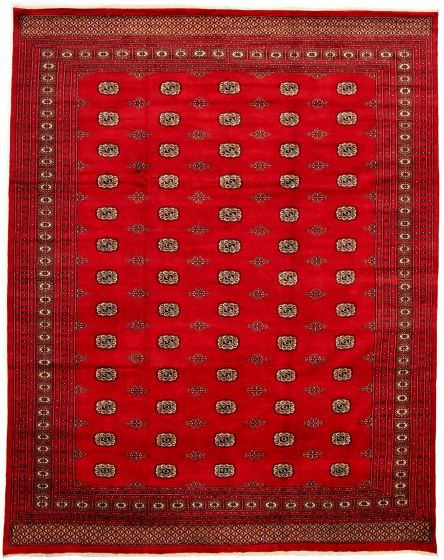 Bordered  Tribal Red Area rug 9x12 Pakistani Hand-knotted 330020