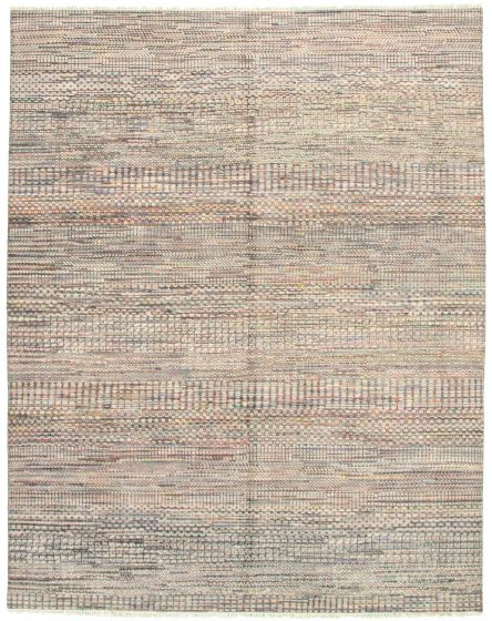 Casual  Transitional Grey Area rug 6x9 Indian Hand-knotted 331900