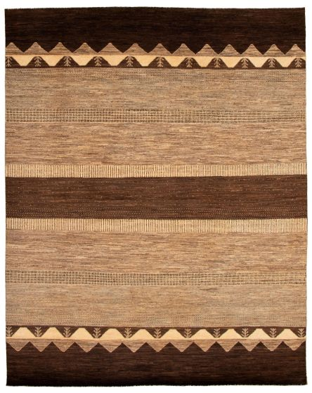 Gabbeh  Tribal Brown Area rug 6x9 Pakistani Hand-knotted 338758