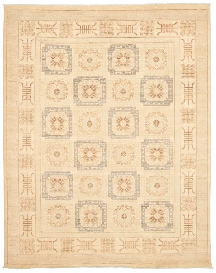 Bordered  Transitional Ivory Area rug 6x9 Pakistani Hand-knotted 338764