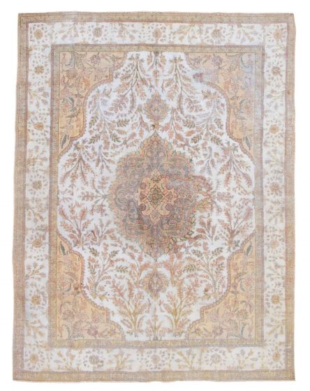 Bordered  Vintage Grey Area rug 9x12 Turkish Hand-knotted 342238