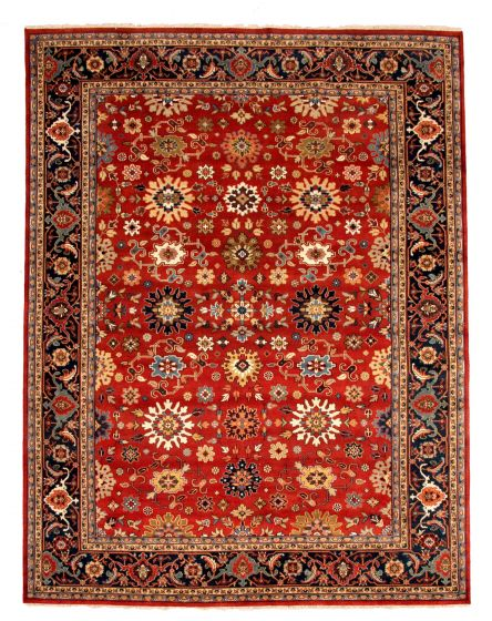 Bordered  Traditional Red Area rug 12x15 Indian Hand-knotted 345135