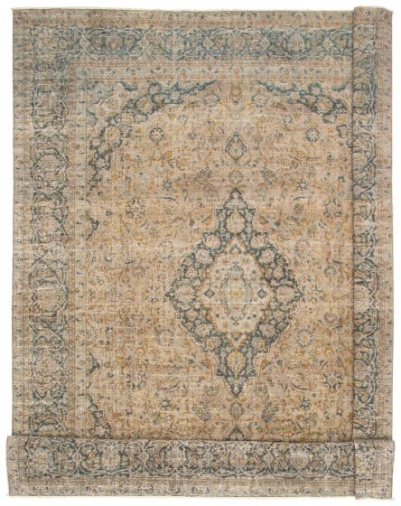 Bordered  Traditional Green Area rug 10x14 Persian Hand-knotted 367173