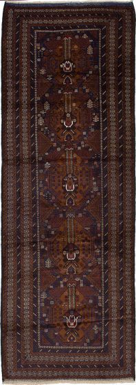 Traditional  Tribal Blue Runner rug 10-ft-runner Afghan Hand-knotted 226445