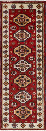 Bordered  Tribal Brown Runner rug 8-ft-runner Indian Hand-knotted 233146