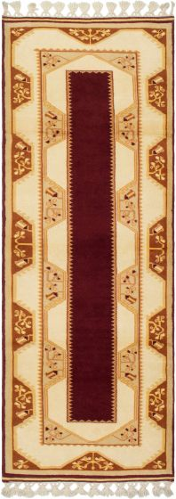 Bordered  Traditional Red Runner rug 8-ft-runner Turkish Hand-knotted 293664