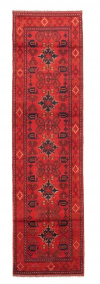 Bordered  Traditional Red Runner rug 10-ft-runner Afghan Hand-knotted 342316