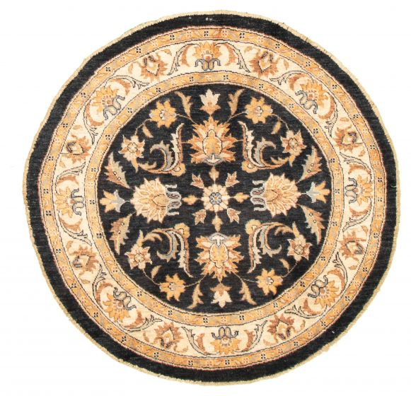 Bordered  Traditional Black Area rug Round Indian Hand-knotted 318198