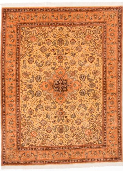 Traditional Yellow Area rug 4x6 Persian Hand-knotted 203986