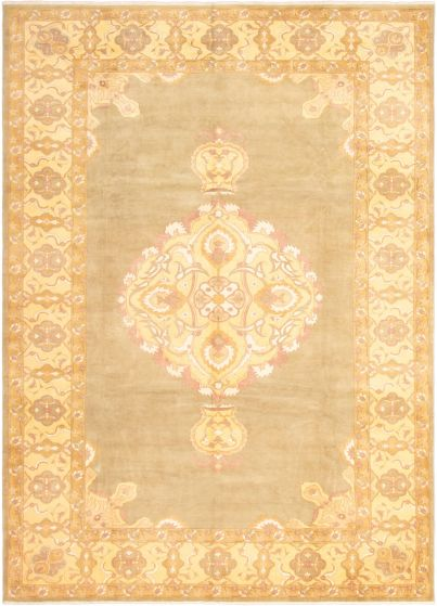 Bordered  Traditional Green Area rug 10x14 Indian Hand-knotted 295781