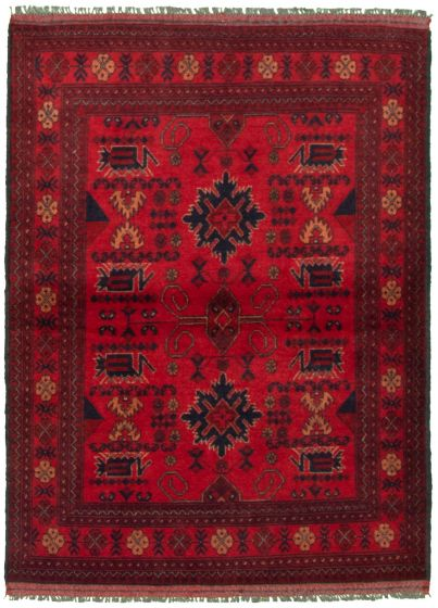 Bordered  Tribal Red Area rug 3x5 Afghan Hand-knotted 330292