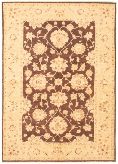Bordered  Traditional Brown Area rug 5x8 Pakistani Hand-knotted 330348