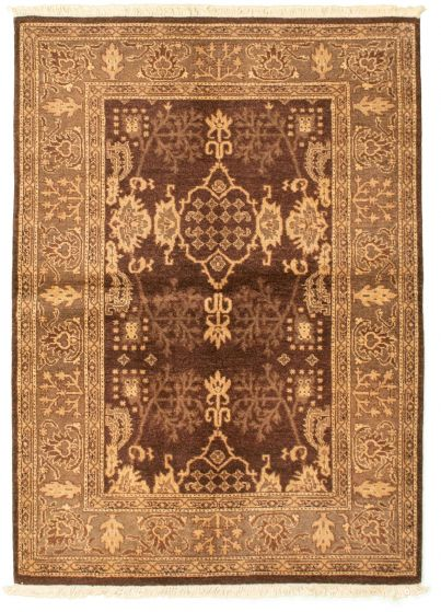Bordered  Traditional Brown Area rug 3x5 Pakistani Hand-knotted 331256