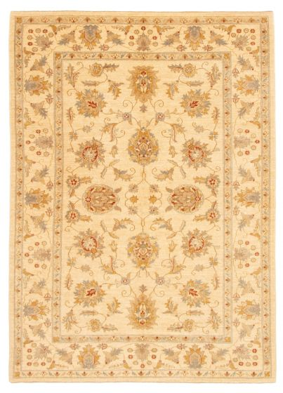 Bordered  Traditional Ivory Area rug 5x8 Afghan Hand-knotted 331622