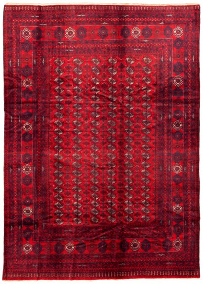 Bordered  Tribal Red Area rug 6x9 Afghan Hand-knotted 342366