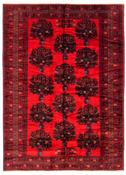 Bordered  Tribal Red Area rug 6x9 Afghan Hand-knotted 348531