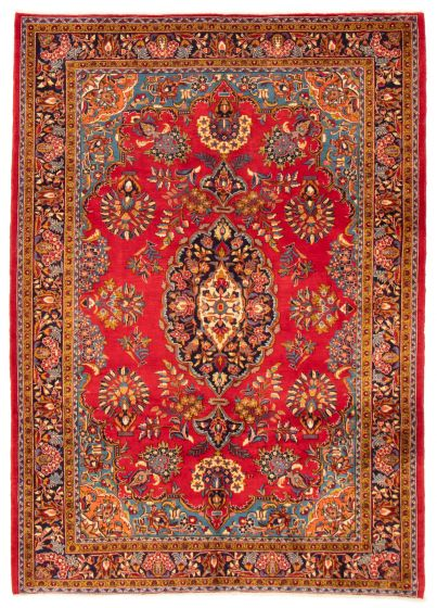 Bordered  Traditional Red Area rug 6x9 Persian Hand-knotted 366440