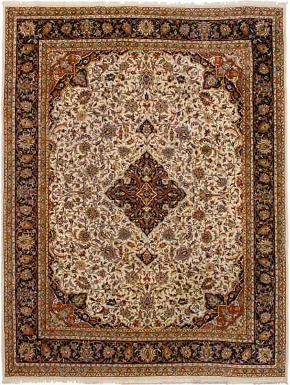 Bordered  Traditional Ivory Area rug 9x12 Indian Hand-knotted 272952
