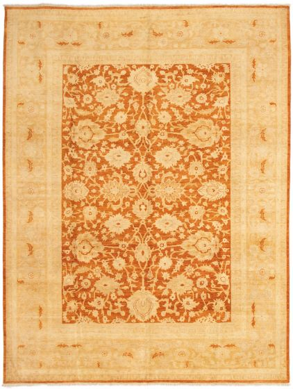 Bordered  Traditional Orange Area rug 9x12 Afghan Hand-knotted 294088