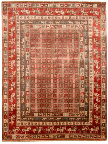 Tribal Red Area rug 9x12 Indian Hand-knotted 313335