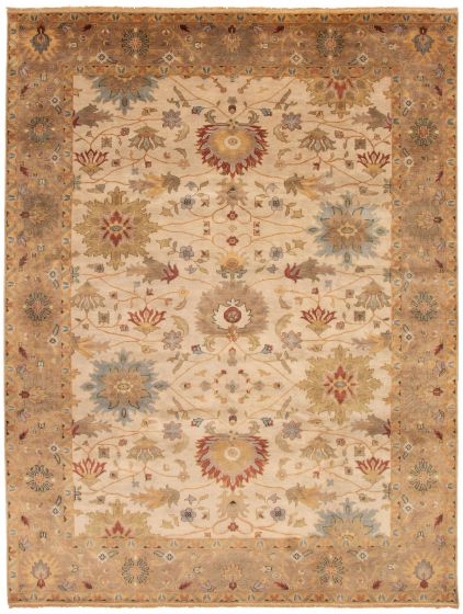 Bordered  Traditional Ivory Area rug 9x12 Indian Hand-knotted 328524