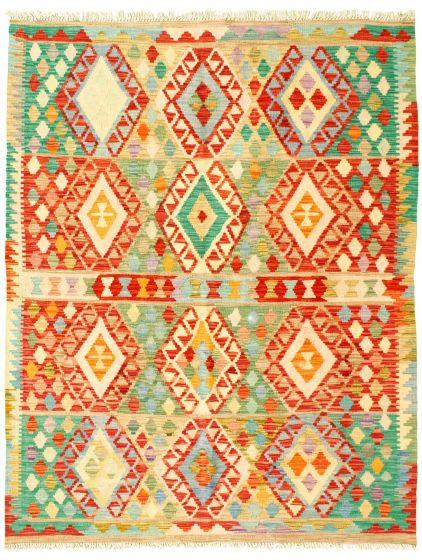 Bordered  Geometric Multi Area rug 4x6 Turkish Flat-weave 329985