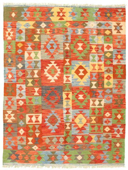 Flat-weaves & Kilims  Geometric Red Area rug 4x6 Turkish Flat-weave 330028