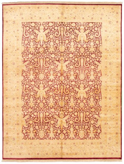 Bordered  Traditional Red Area rug 9x12 Pakistani Hand-knotted 330347