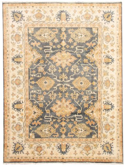Bordered  Traditional Grey Area rug 9x12 Indian Hand-knotted 331317