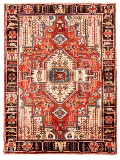 Bordered  Traditional Brown Area rug 4x6 Persian Hand-knotted 353671