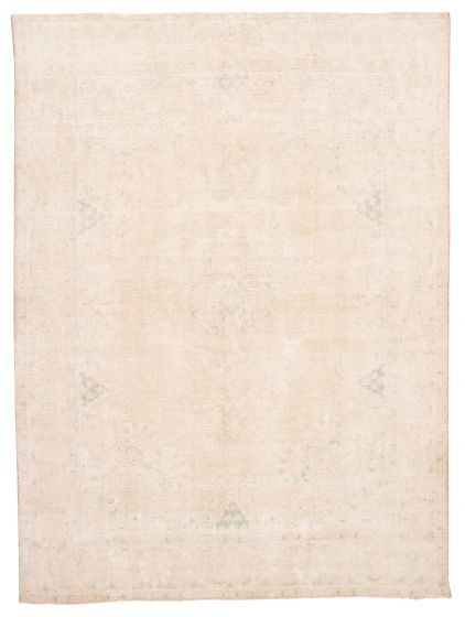 Bordered  Vintage Yellow Area rug 9x12 Turkish Hand-knotted 360558