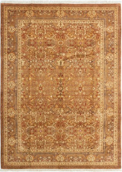 Bordered  Traditional Brown Area rug 5x8 Indian Hand-knotted 280454