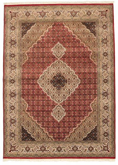 Bordered  Traditional Red Area rug 5x8 Indian Hand-knotted 309062