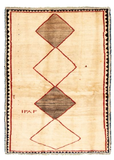 Bordered  Tribal Ivory Area rug 3x5 Persian Hand-knotted 322755