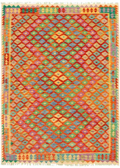 Bordered  Geometric Red Area rug 5x8 Turkish Flat-weave 329879