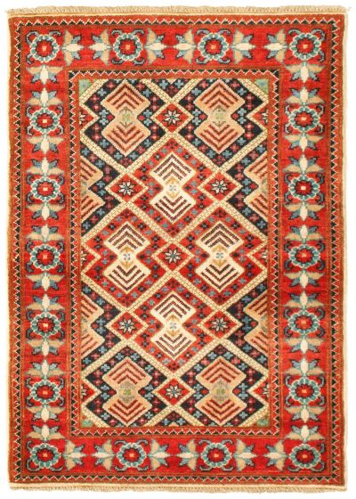Bordered  Traditional Red Area rug 3x5 Afghan Hand-knotted 330180