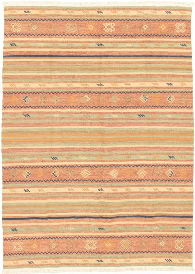 Bohemian  Transitional Green Area rug 4x6 Turkish Flat-weave 335897