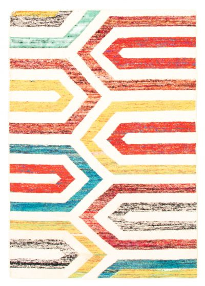 Flat-weaves & Kilims  Transitional Ivory Area rug 5x8 Indian Flat-weave 344453