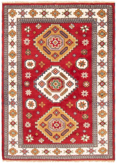 Bordered  Traditional Red Area rug 5x8 Indian Hand-knotted 364358