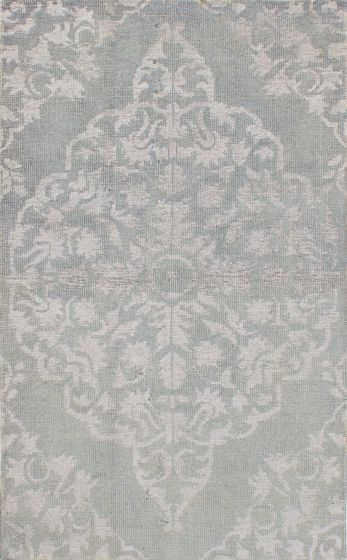 Transitional Green Area rug 5x8 Indian Hand-knotted 221899