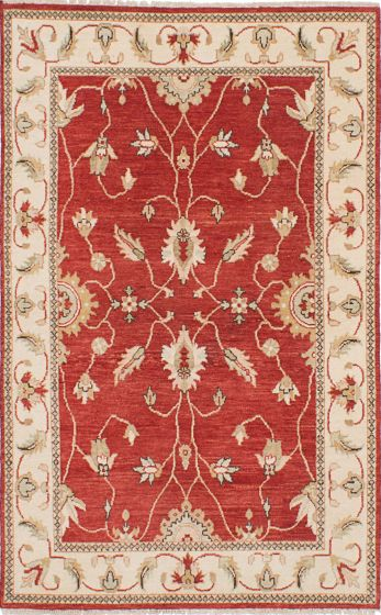 Traditional Red Area rug 4x6 Indian Hand-knotted 223889