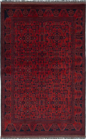 Traditional  Tribal Red Area rug 4x6 Afghan Hand-knotted 235670